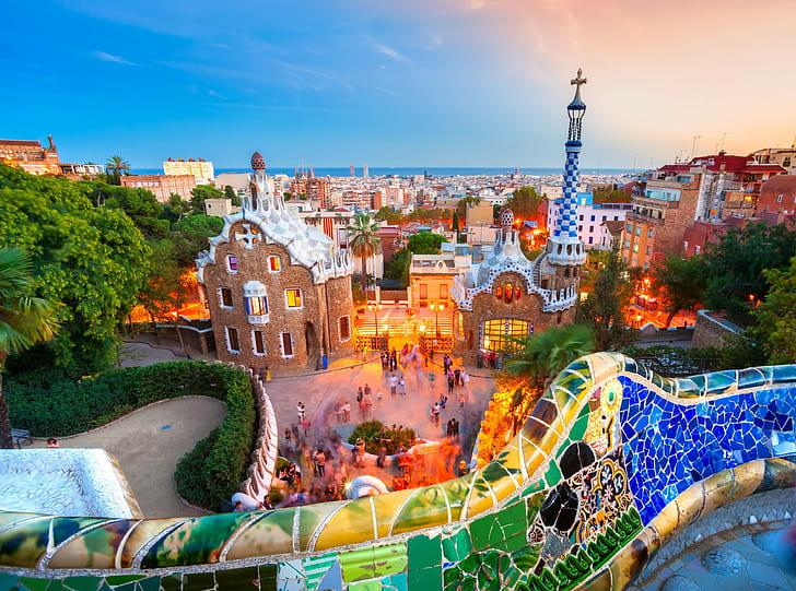 Park Guell Barcelona Europe Spain Architecture Scenery Cityscape Hd Wallpaper Wallpaperbetter